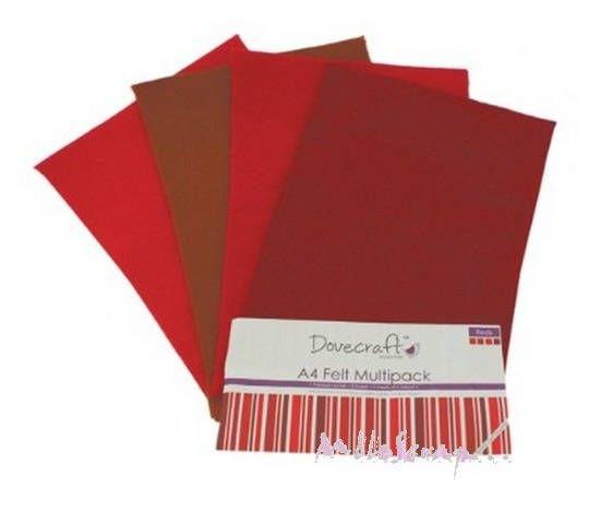 Lot de 8 feuilles de feutrine tons rouge embellissement scrapbooking (ref.110)* de la boutique MademoiselleScrap sur Etsy