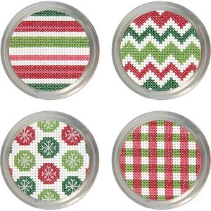 General Crafts > Jar Crafts > Set Of 4 - Holiday Patterns Jar Topper Counted Cross Stitch Kit: A Cherry On Top