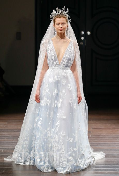 "Naeem Khan - Spring 2016. ""Positano"" sleeveless French blue tulle A-line wedding dress with a plunging V-neck and hand painted veil, Naeem Khan"