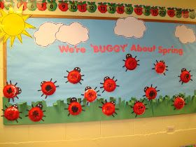 "Trinity Preschool Mount Prospect: Lady Bug ""We're ""buggy"" about spring"" bulletin board"