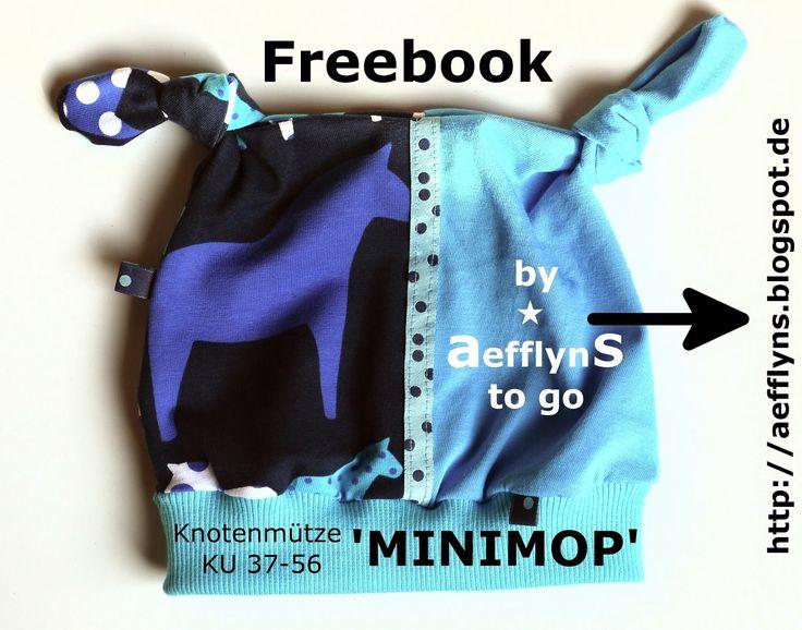 """Tolles Freebook """"Minimop"""" mit Schnittmuster und Anleitung für eine Knotenmütze mit Bündchen Gr. 37 - 56 KU. (nähen)"""