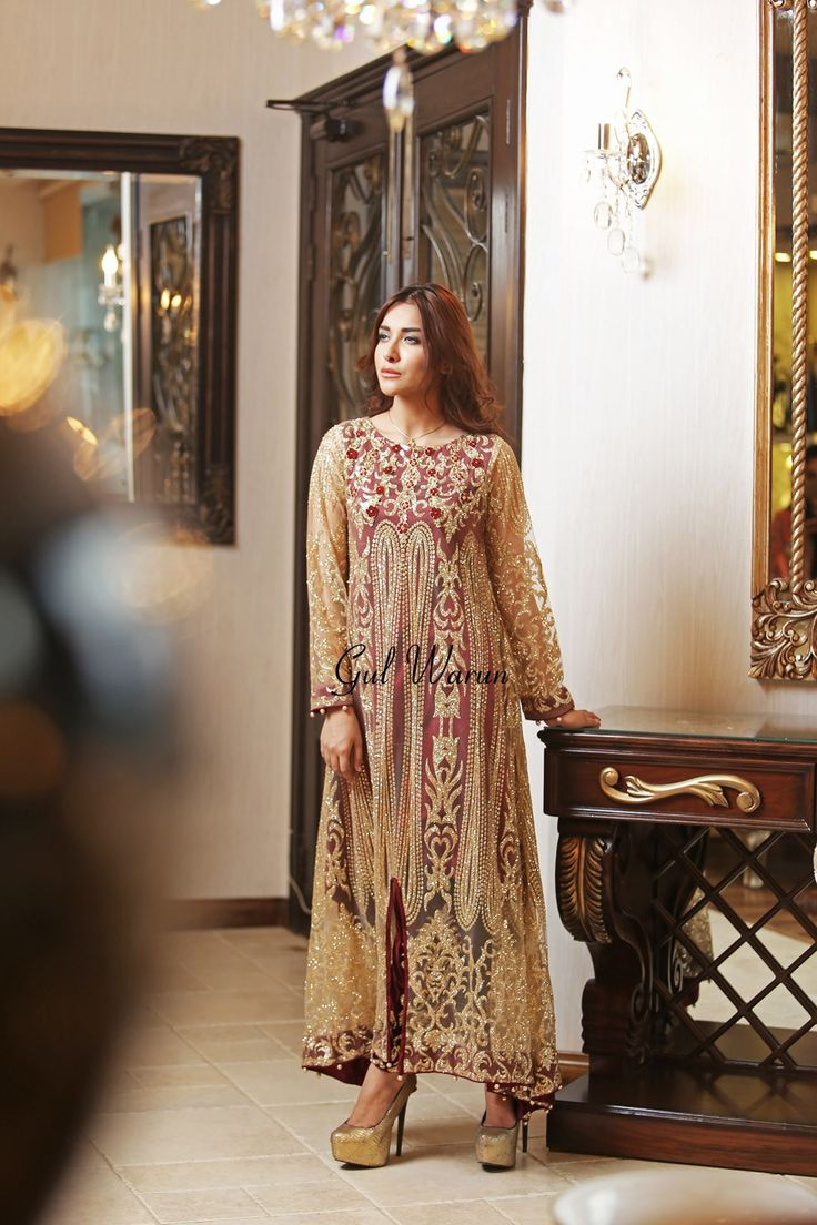 Pakistani Designer Dresses - Lowest Prices - Maroon and Gold Long shimmery Dress by Gul Warun - Dresses - Latest Pakistani Fashion