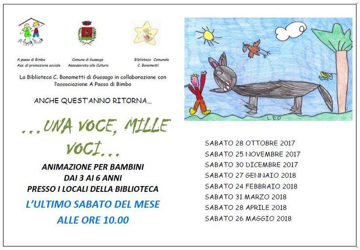 """Sabato 28 ottobre letture per bambini """"…una voce, mille voci…"""" - http://www.gussagonews.it/letture-bambini-una-voce-mille-voci-ottobre-2017/"""