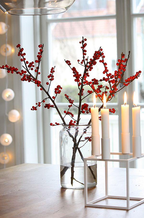 Bouquet de baies et bougies