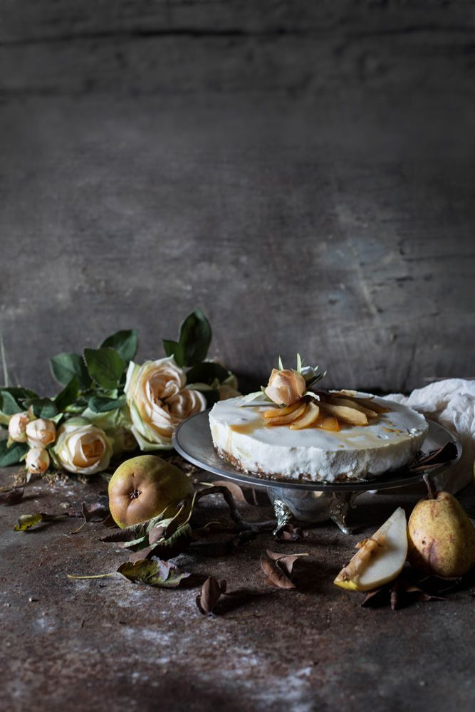 Chocolate Pear Ricotta Cheesecake | rustic and vintage food photography /
