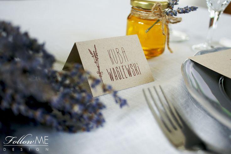 Winietki / Podziękowanie dla gości - mini miodziki z lawendą / Rustykalne Dekoracje ślubne od FollowMe DESIGN / Wedding Place Card / Wedding Favors - Honey Jar Favors with Lavender / Rustic Wedding Decorations & Details by FollowMe DESIGN
