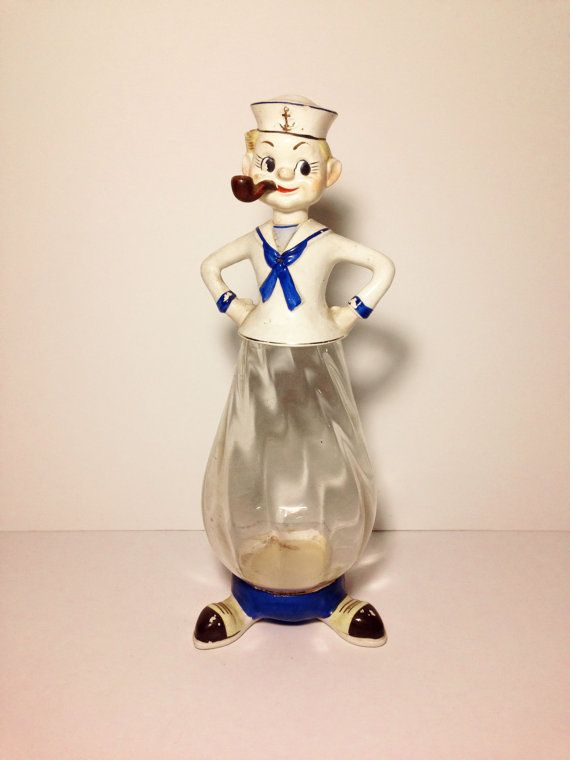 1958 Sailor Popeye Decanter Made In Japan By
