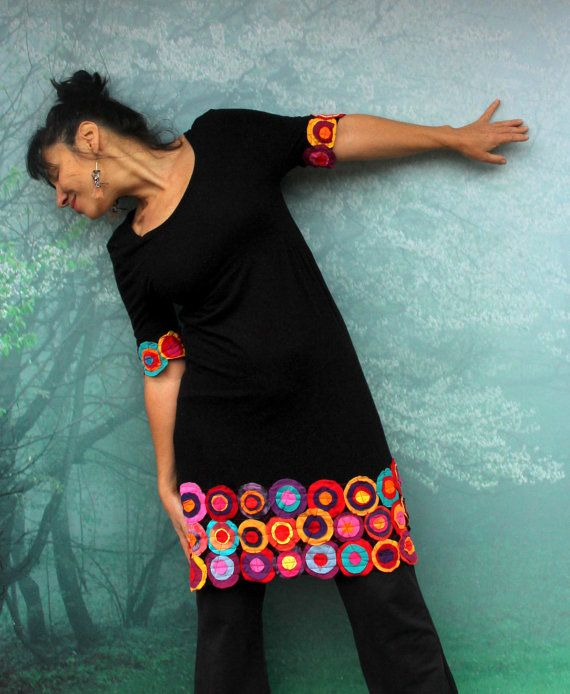M Colorful crazy appliqued recycled dress tunic art gypsy hippie boho