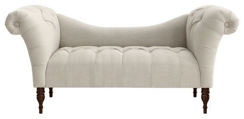 Cameron Tufted Chaise, Talc - contemporary - bedroom benches - - by One Kings Lane