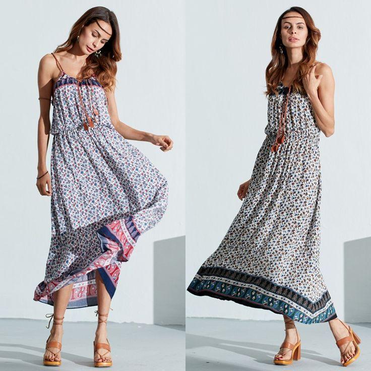 Bohemian Women Sleeveless Floral Print Beach Long Maxi Summer Dresses