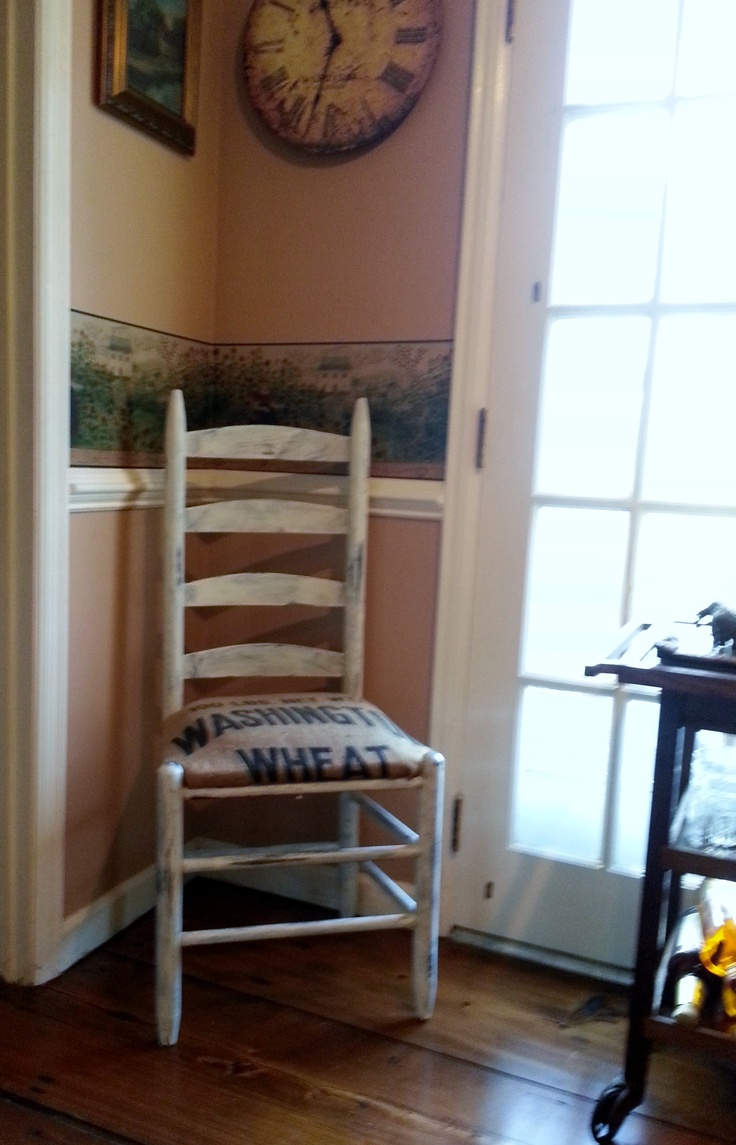 Painted ladder back chairs - Chalk Painted Ladder Back Chair With Grain Sack Pillow Total Redo Cost For 2 Chairs