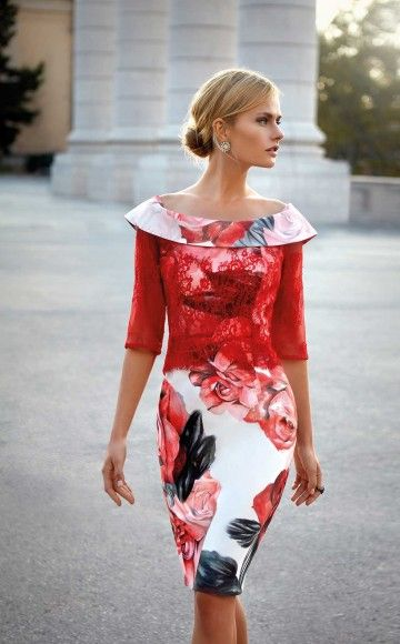 Carla Ruiz 93543 Amazing Rojo fitted floral dress, with a soft off the shoulder neckline and lace detail across the bodice and sleeves only available at Blessings Occasion Wear Boutique, Brighton, East Sussex. BN1 5GG. Telephone: 01273 505766.
