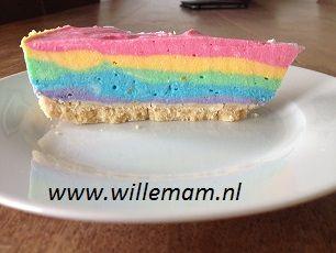 Blog en nieuws: maak eens zo'n bijzondere regenboog kwarktaart!