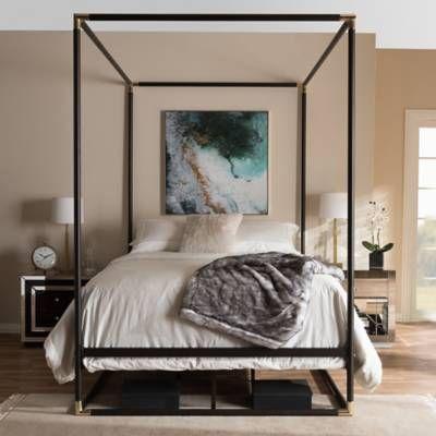 braxton studio eva queen metal canopy bed with dark bronze matte finish