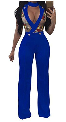 4c9f0e13c5 SportsX Women s Plunge V Neck Digital Printed Perspective Sleeveless Mesh  Mid Waist Straight Sexy Jumpsuits