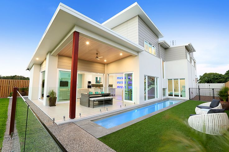 Elegant modern design. Simple outdoor area with lap pool. The Seaview 366 on display, #GJFraserCoast #GJQLD. Click here for more info: http://www.gjgardner.com.au/offices/fraser-coast-bundaberg-2958/display-homes/seaview-366-400.aspx