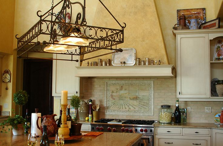 Luxurious Tuscan Kitchen With Decorative Hanging Pot Rack