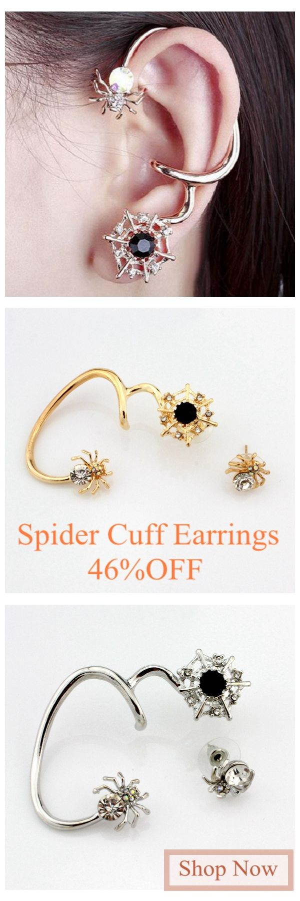 [Newchic Online Shopping] 54%OFF Women's lovely Spider Ear Cuff