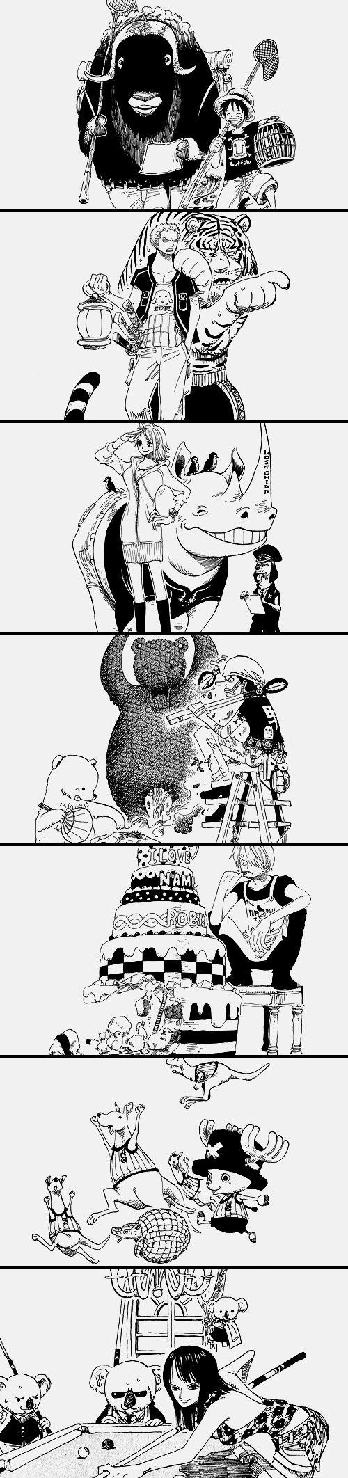 One Piece I love how Sanji's cake says I love Nami & Robin