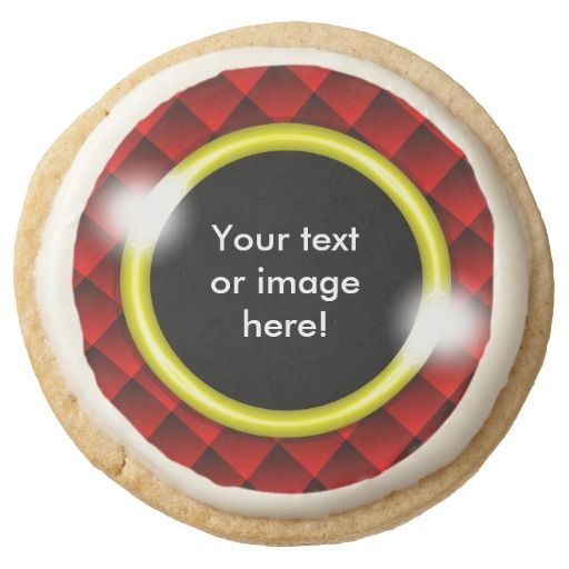 Red Black Diamond Squares 3D Gold Frame Round Premium Shortbread Cookie - This design features fading red and black 3D squares with a gold frame in which to add your own text, image, photo or picture. This can be a gift for a best friend, husband, wife, boyfriend, girlfriend, a fathers day gift, Christmas gift or Valentines Day gift.
