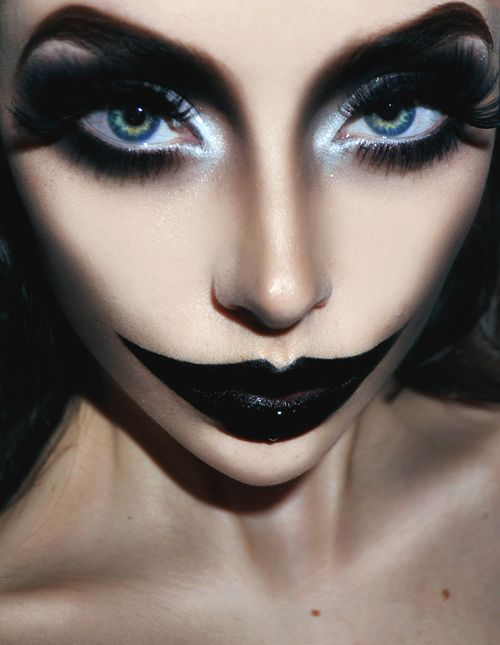 totally freaky but i love for a Harley Quinn Halloween look!! Maybe add some red to the middle of the lips