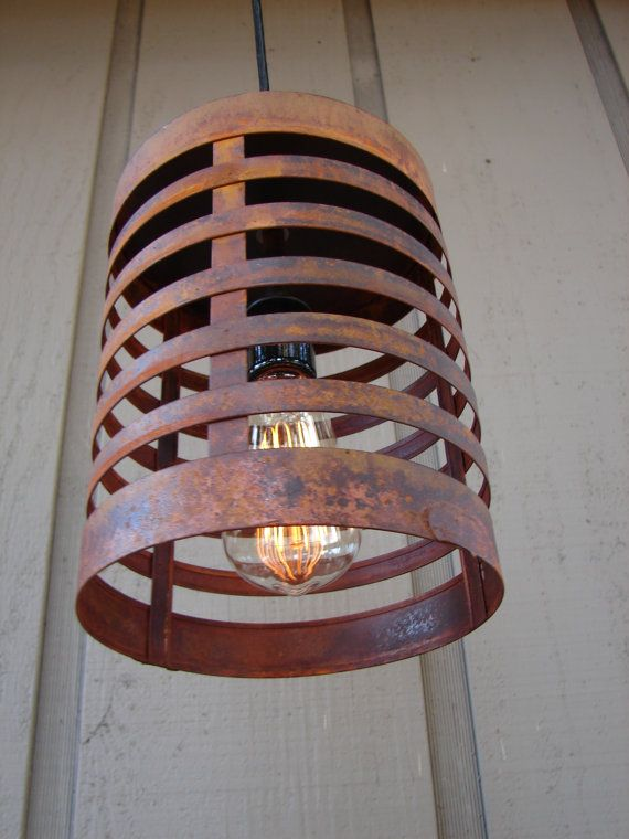 Rusty Steel Rustic Industrial Pendant Light by BenclifDesigns.
