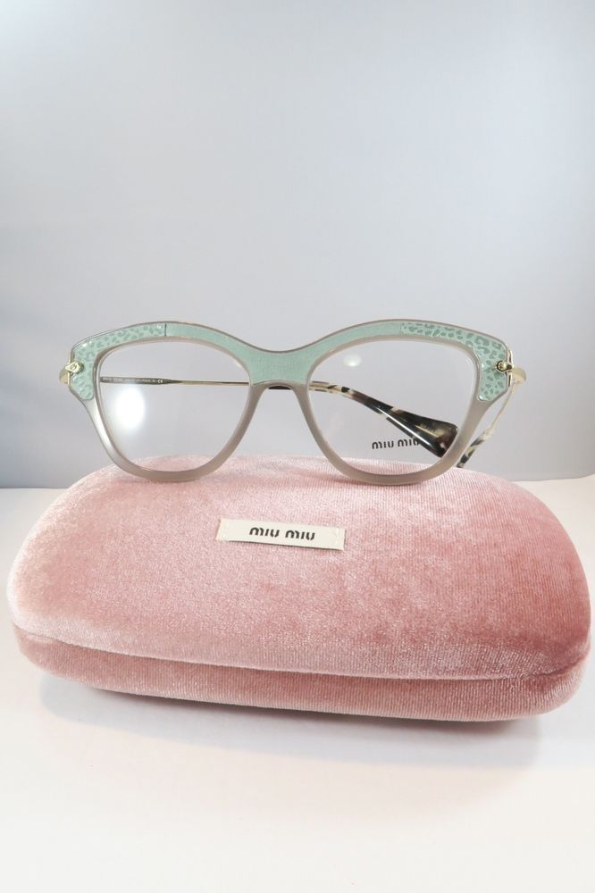 c0b13daf13b6 Miu Miu VMU 07O U6S-1O1 Grey Green Havana New Authentic Eyeglasses 52mm