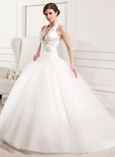 Wedding Dresses - $197.49 - Ball-Gown Halter Chapel Train Satin Tulle Wedding Dress With Embroidered Ruffle Flower(s) (002012183) http://jjshouse.com/Ball-Gown-Halter-Chapel-Train-Satin-Tulle-Wedding-Dress-With-Embroidered-Ruffle-Flower-S-002012183-g12183