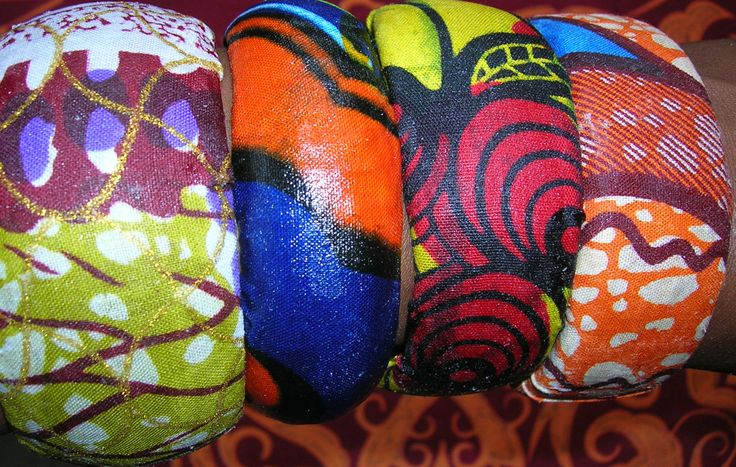 Fabric wrapped bangles.