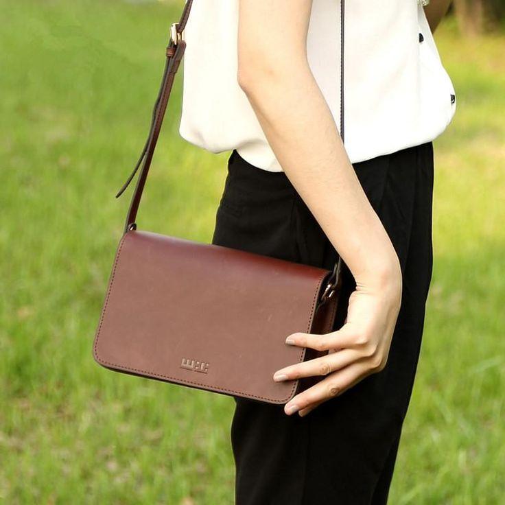 Mini Brown Leather Messenger Bag for Women