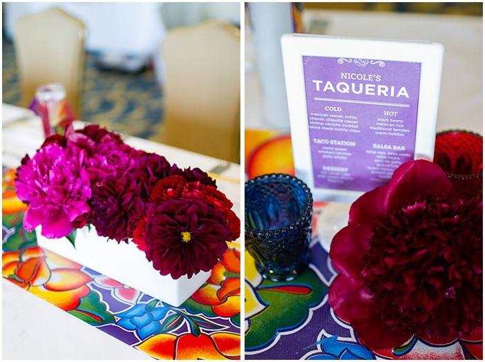 love the depth of the color on these flowers.  monochromatic for each table could be cute!
