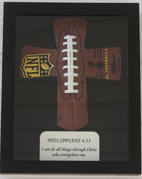 Hey, I found this really awesome Etsy listing at https://www.etsy.com/listing/78884564/personalized-football-cross-in-shadowbox
