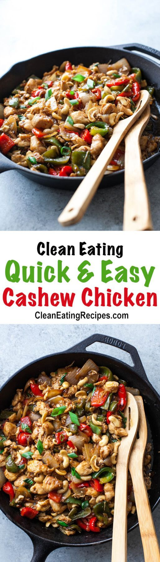 I love that I can make this Clean Eating cashew chicken recipe really fast and my entire family loves it! We add or take away ingredients all the time, based on what we have and what we're in the mood for that day.