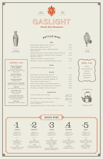 Gaslight drinks menu