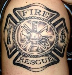 Cute Grey Ink Firefighter Tattoo On Right Shoulder