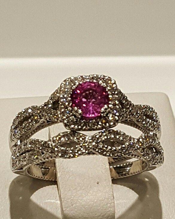 Pink Sapphire &  Diamond Ring wedding set