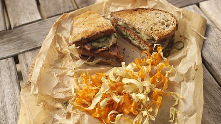 James Martin's take on a toasted sandwich makes for a tasty portable snack great for eating on the go.