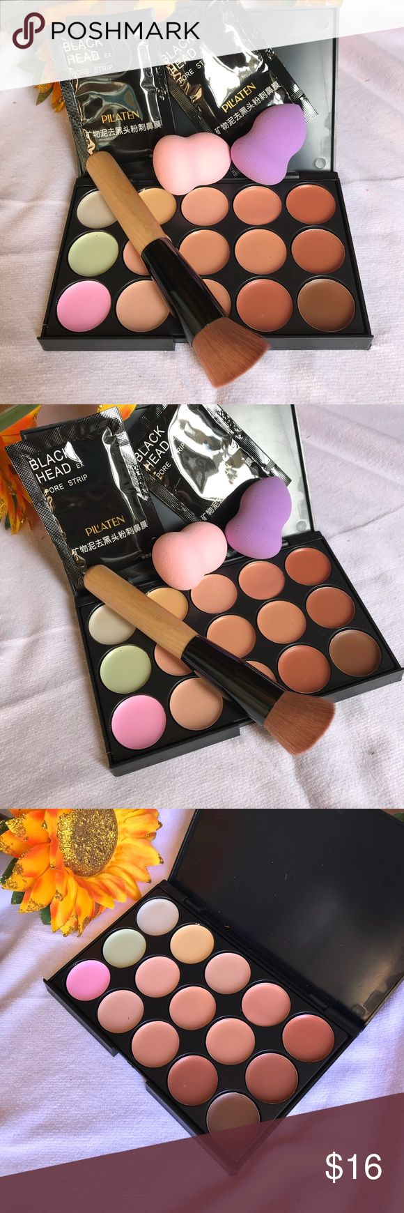 🎈SALE🎈 Bundle Makeup Brush Palette Set Bundle 15 Colors Contours Face Cream Makeup Concealer Palette +1 Brush + 2x Sponge + 2 Blackheads Removals Marks  Material: Foundation cream Made of excellent material, safe and soft for your facial skin Combines 15 colors in one palette, can be mixed to help create different looks Used as foundation primer, foundation, concealer, camouflage and eyeshadow base Great for shading, light weight but wearable. It's great for highlight and contouring for…