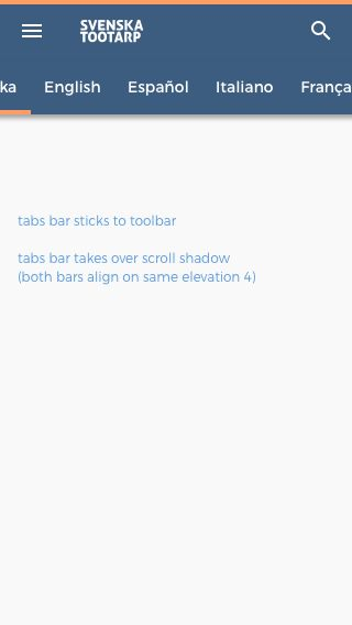 header base sticky tabs bar (aligns with toolbar MD elevation level 4)