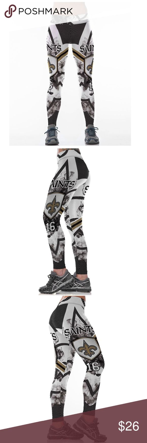 New Orleans Saints NFL Leggings Root for your favorite team in these high quality NFL leggings! Perfect wardrobe addition while watching Sunday football games. The vivid colors and designs are sure to turn heads! Get a pair now while they last to show your team support every week as they inch their way to the glorious Super Bowl Condition: Brand New in Packaging Material: Spandex / Polyester Measurements:  (Length / Waist / Hip) S/M: 36 / 27.5-37 / 33-41.5 L/XL: 36.5 / 30–39.5 / 35.5-44…