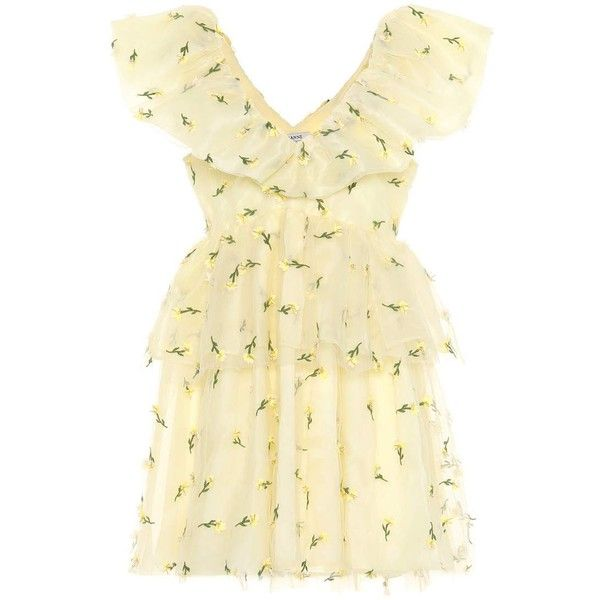 Ganni Bliss Embroidered Mesh Minidress ($815) ❤ liked on Polyvore featuring dresses, yellow, beige short dress, embroidery dresses, embroidered dress, yellow mini dress and yellow dress