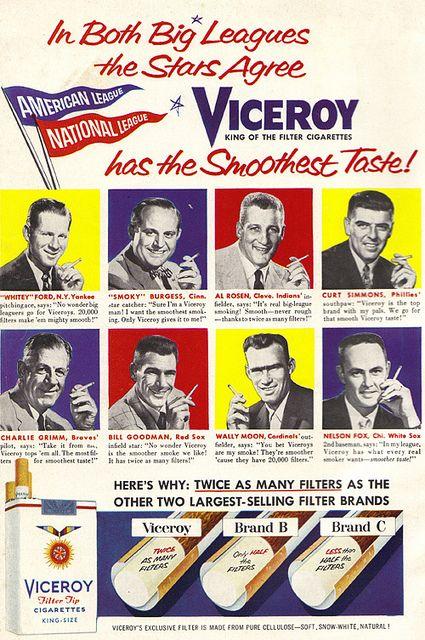 Vintage Ad #1,394: Baseball All-Stars Agree Viceroy has the Smoothest Taste