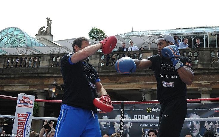 Anthony Joshua (right) took part in an open training session at Covent Garden on Tuesday