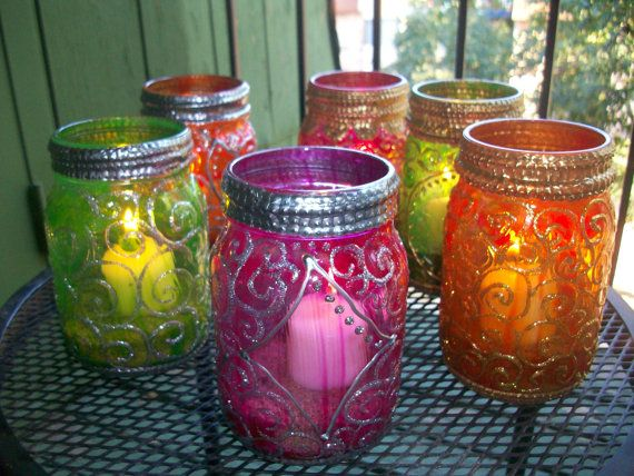 Colorful Candle Jar / Favors  perfect for weddings and by eLumin, $15.00