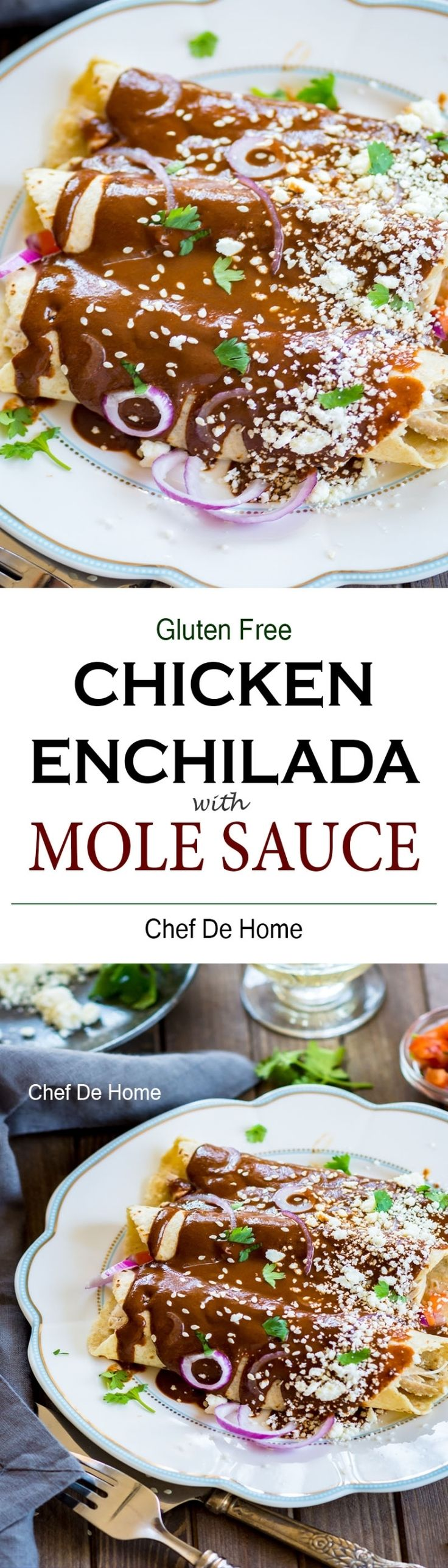 Mole Chicken Enchilada with Homemade Mole Sauce - Ready in just 30 minutes and has authentic mole poblano taste. Easy and affordable  chicken dinner at home.