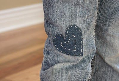 Patches for the kids' jeans - DIY