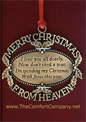 Merry Christmas From Heaven...the perfect memorial ornament keepsake for those who have lost a loved one  #MemorialOrnament #ChristmasOrnament