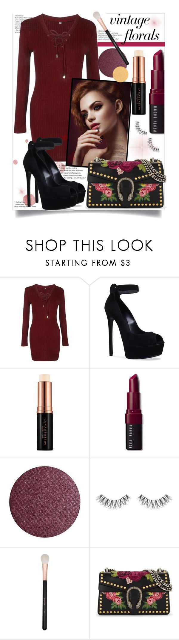"""""""Red Hot"""" by bitty-junkkitty ❤ liked on Polyvore featuring WithChic, Casadei, Anastasia Beverly Hills, Bobbi Brown Cosmetics, Morphe and Gucci"""