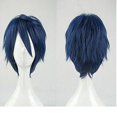 courts bouclés perruques parti perruques d'animation de qualité supérieure bleu cosplay perruque synthétique cheveux perruques homme de 3112787 2017 à €10.77