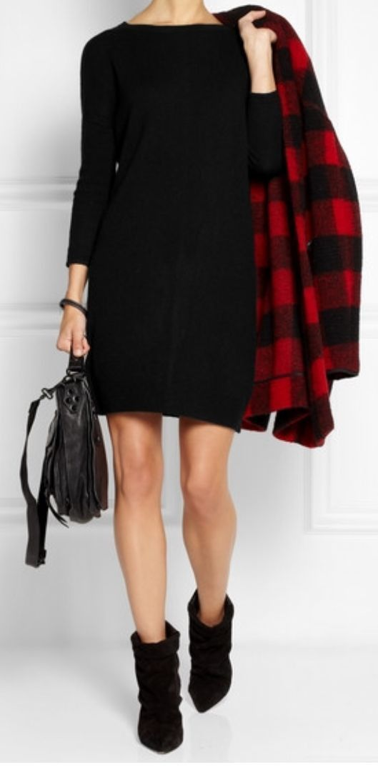 Duffy Black Cashmere Sweater Dress XS